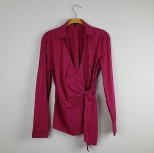 Express Hot Pink Crossover Long Sleeve Top Blouse